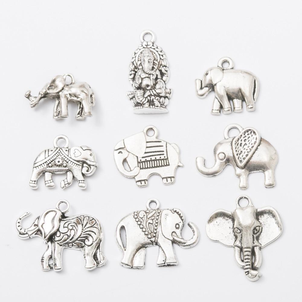 30 Pieces Antique Bronze Lucky Elephant Charm Pendant Jewelry DIY Makings