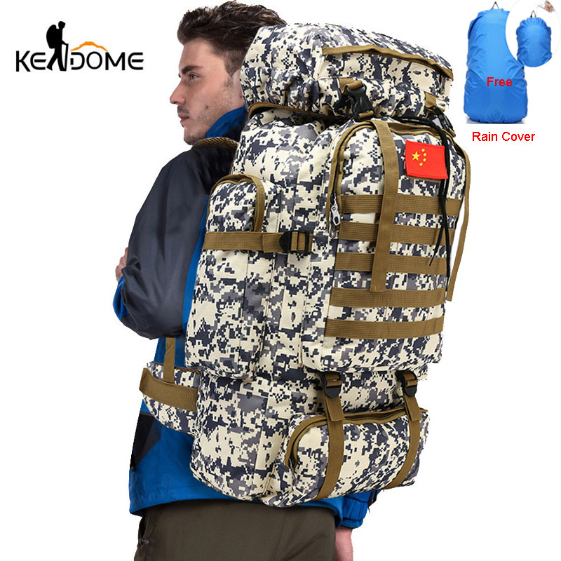 Molle System Camping Hiking Backpacks Travel Bags Military Nylon Tactical Bag With Rain Cover Climbing Sac De Sport Men XA777WD
