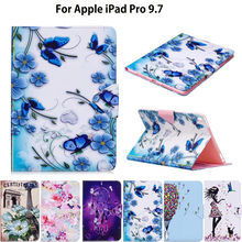 Fashion Girl Cat Flip Leather Case For Apple iPad pro 9.7 Smart Case Cover Funda