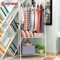 COSTWAY Kleerhanger Rack Floor Hanger Opslag Garderobe Kleding Droogrekken porte manteau kledingrek perchero de pie