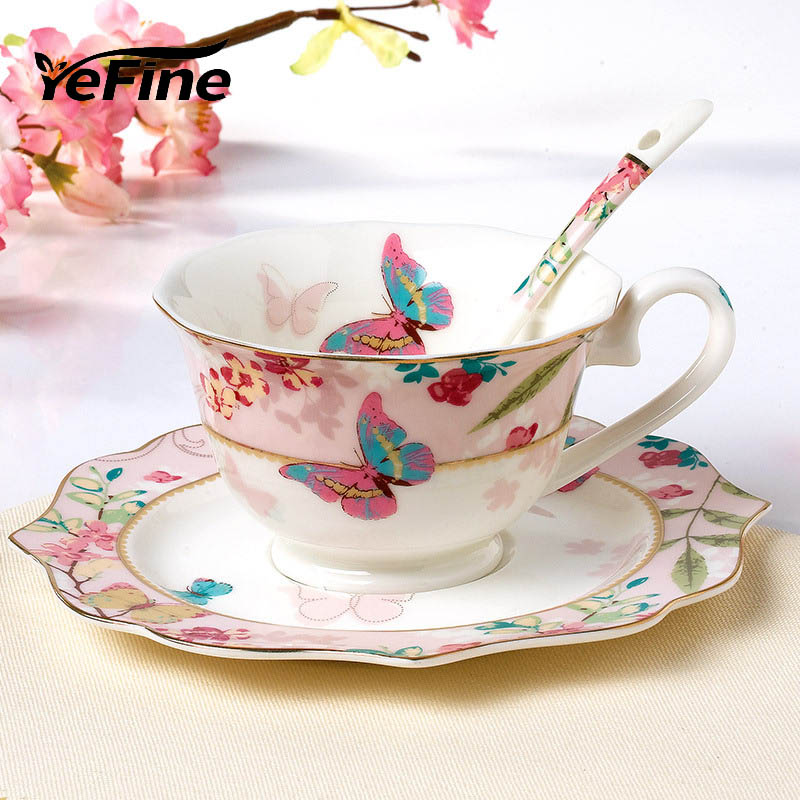 YeFine Ceramic Coffee Cup Set Bone China Drinkware Porcelain Tea Cups And Saucers Afternoon Tea Set Christmas Gift
