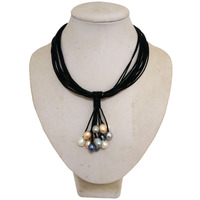Black Leather Multicolor Rice Pearl Leather Cord Necklace for Women