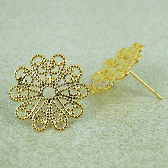 15mm Golden tone Plated Copper Circle Filigree Flower Stud Pins Earrings Settings Jewelry Findings Wholesale