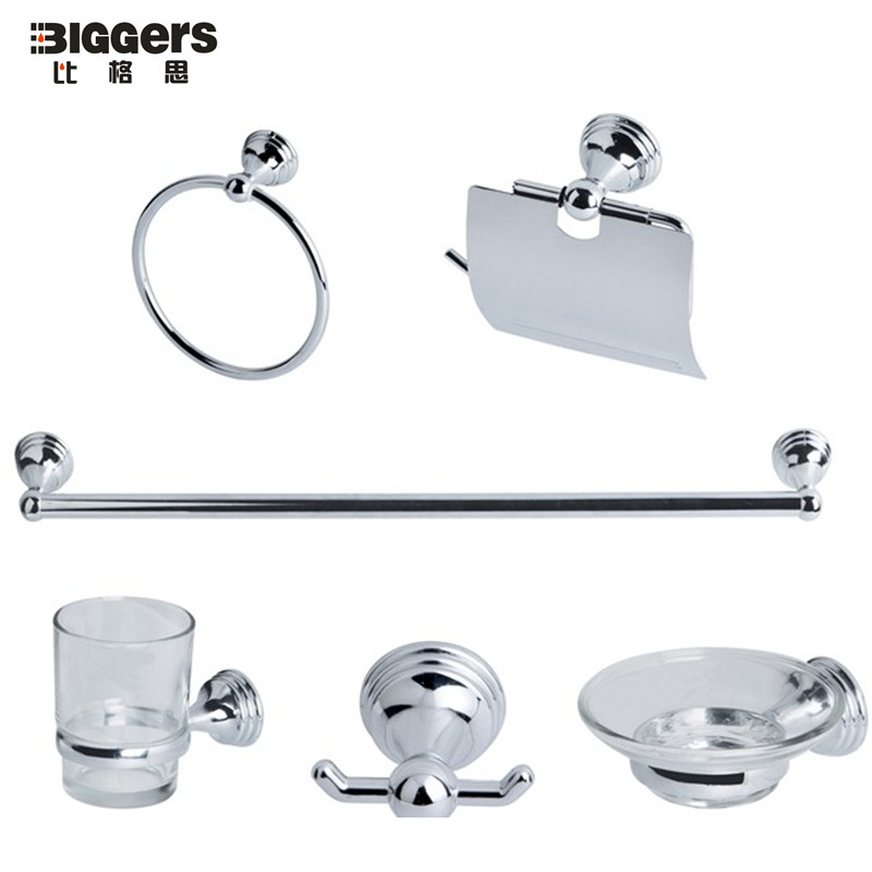 Free shipping cheap price bathroom hardware set chrome zinc alloy bathroom accessories set 6pcs for Cheap bathroom accessories set
