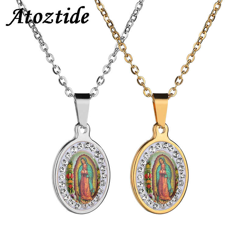 Atoztide Catholic Rhinestone Oval Prayer Virgin Mary Necklace Classic Our Lady of Guadalupe Medal Coin Necklace Amulet