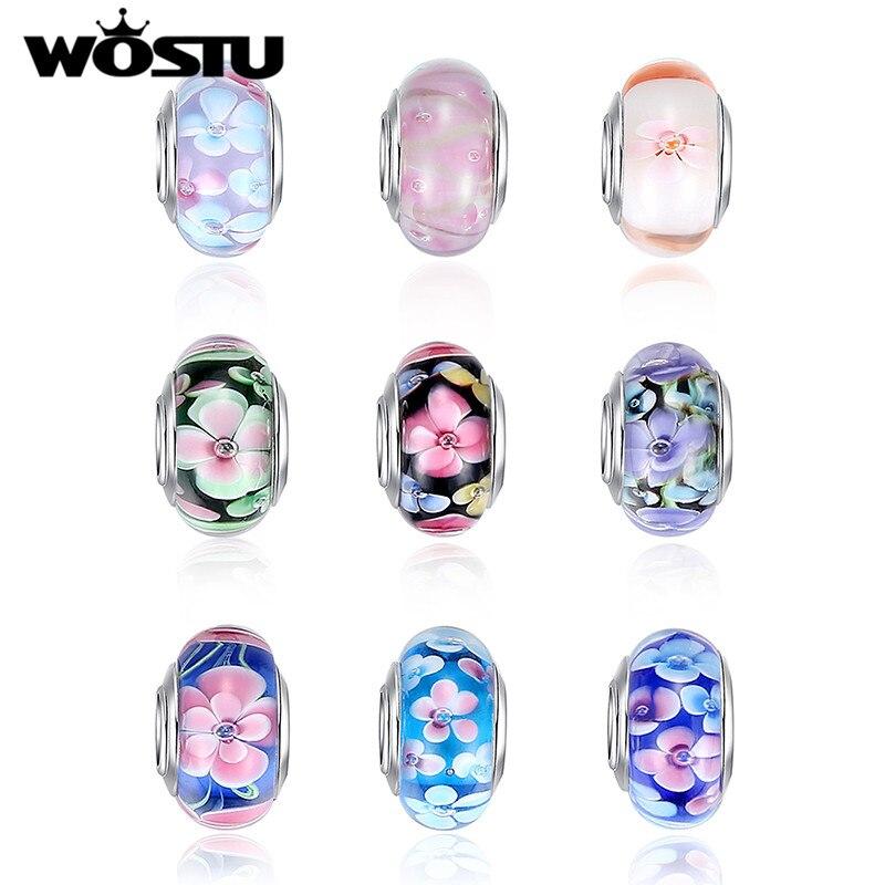Venda quente flor de prata contas de vidro murano ajuste wst pulseira pulseiras encantos original europeu diy jóias