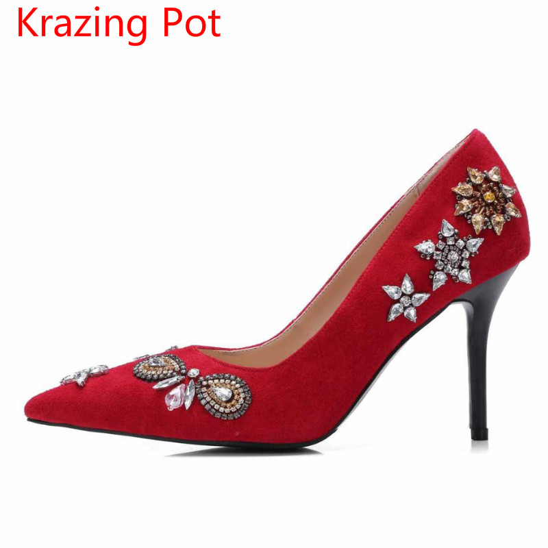 ФОТО 2017 Superstar Fashion Brand Shoes Pointed Toe Slip on High Heels Crystal Flowers Women Pumps Shallow Party Wedding Sexy Shoe 39