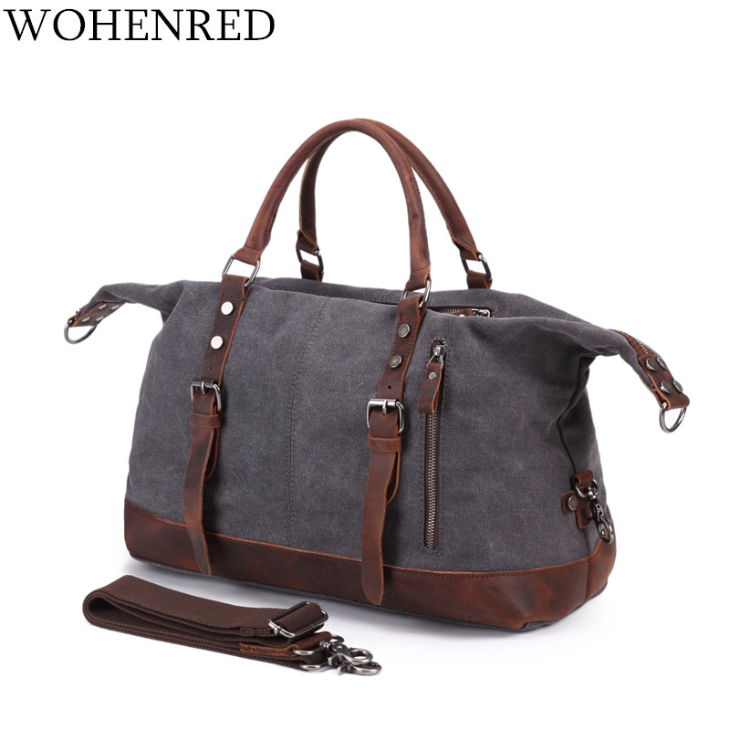 Men's Travel Bags Vintage Leather Canvas Carry on Luggage Bags Big Men Duffel Bags Travel Tote Large Weekend Bag Overnight-in Travel Bags from Luggage & Bags    1