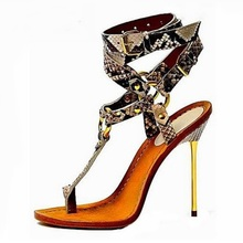 Free Ship Gold Metal High Heel Sandals Woman Sexy Snakeskin T-bar Ring Buckle Strap Python Printed Leather Dress Shoes