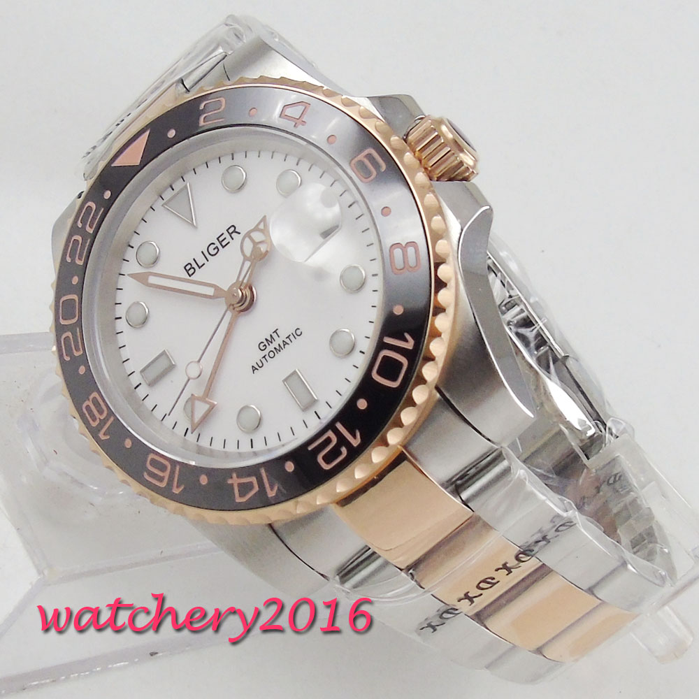 40mm Bliger White Dial Sapphire Glass Date GMT Luminous Hands Steel Case Rotating Ceramic Bezel Automatic