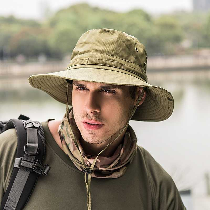 Outdoor Camping Hiking Sun Protection Hat Wide Brim Bucket Hats UV Protection Boonie Breathable Hat