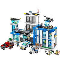 BELA 10424 Building Block Sets City Police Station 60047 Model Policeman Figures 890pcs Bricks Toys For Children Christmas