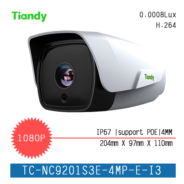 "Tiandy IP Camera H.265 Super Star Series 1/2.8 ""Waterproof Outdoor Camera 2MP 1080P HD Network Fixed Focus Infrared Camera"