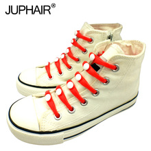JUP 1-12 Sets(16Root/Set)Pure Yellow Lace Shoelace Flat Elastic Silicone Men Women Sneakers Sport Basketball Running Shoes Round jup1 12 sets 16root set multi color lace shoelace elastic silicone men women boy girl sneakers sport basketball running laces
