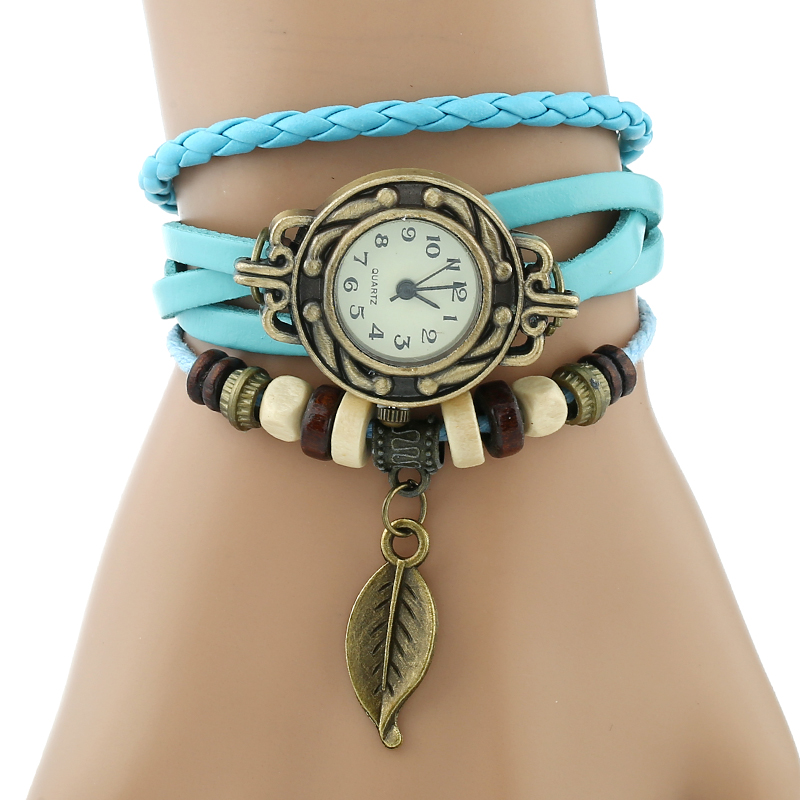 Classic Genuine Leather Bracelet Women Vintage Wrist Watch 3