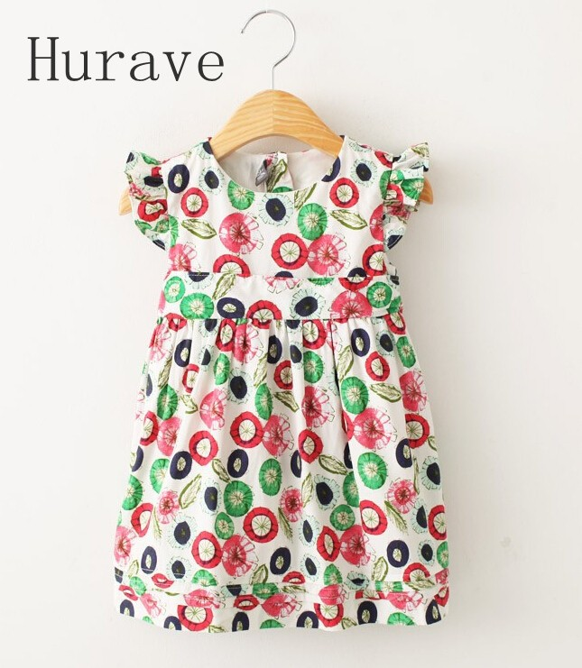 Hurave 2017 cute summer girl lace dress kids fashion children party dresses