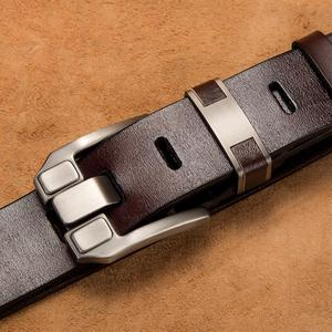 Image 4 - BISON DENIM Men Belts Cow Leather Jeans Waistband Genuine Leather Male Belt Soft Alloy Pin Buckle Mens Belt N71350 2C