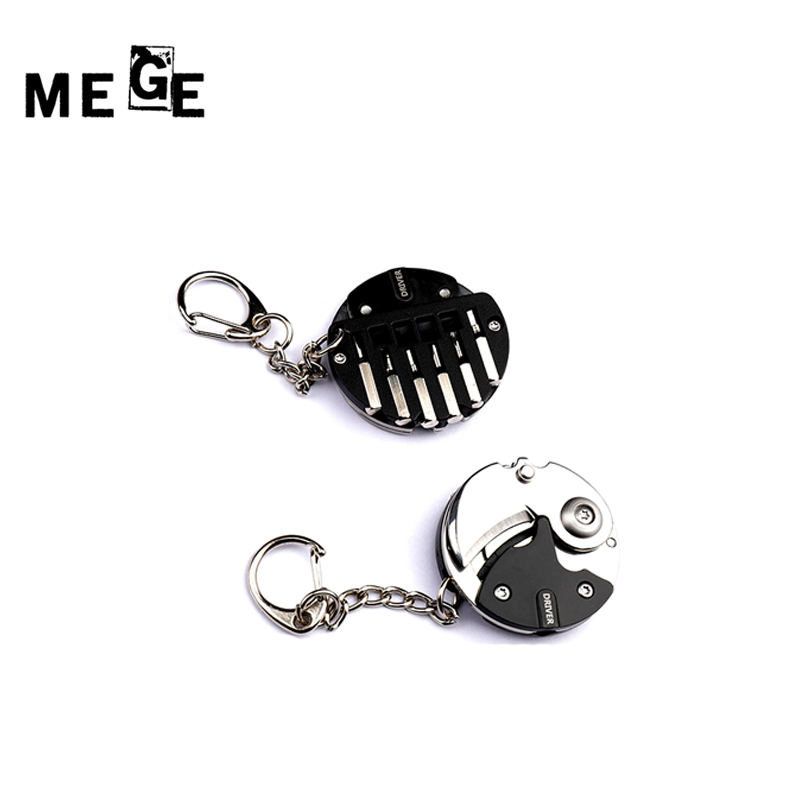 MEGE Pocket Multi Tool Foldaway Knife Keychain Screwdriver Outdoor Accessories Gadgets Inteligentes EDC Gear Llavero Herramienta