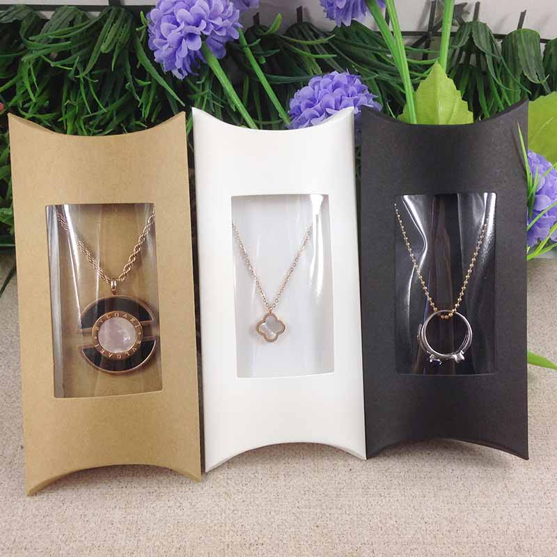 Diy White Pillow Box With Pvc Clear Window Box 1Lot =50box +50 Pcs Inner Card 16x7.8x2.4cmNecklace Card Gifg BOX Pendent  Box
