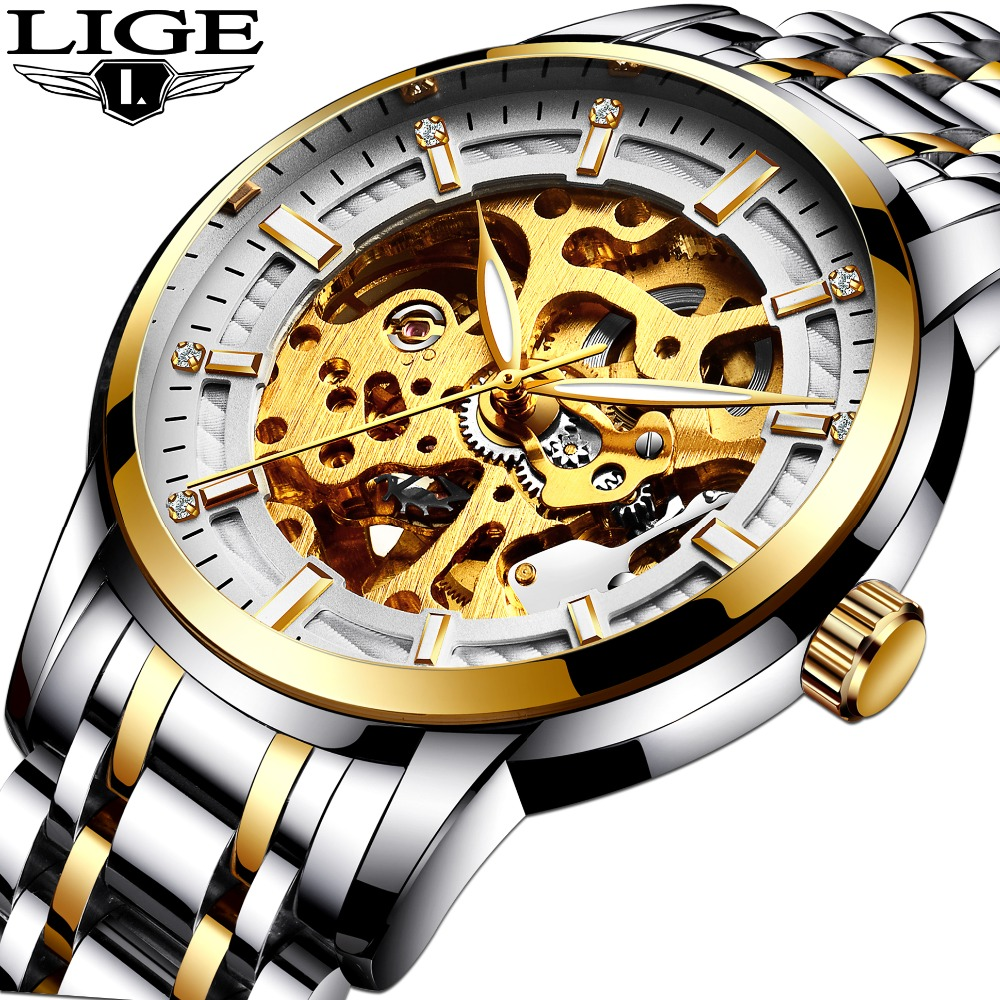 2017 Watches men full steel Skeleton Automatic mechanical watch luxury brand LIGE waterproof business dress wristwatch gold blu rosra brand men luxury dress gold dial full steel band business watches new fashion male casual wristwatch free shipping