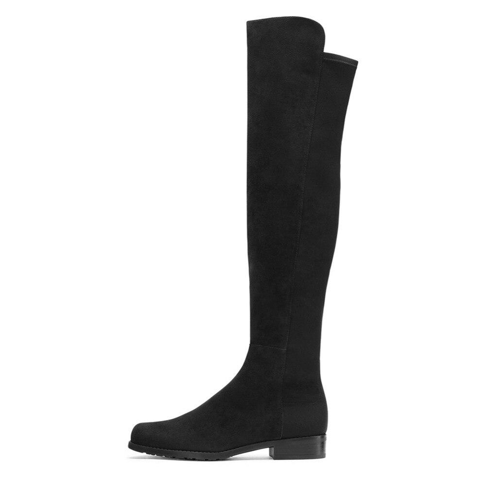 Frauen Große Wildleder Qualität Schuhe Faux Größe Plus Kniehohe Hohe blau Winter Stiefel Wolle Marke Schwarzes r4wqZrT