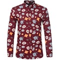 Printed Fashion Men Shirts Casual Slim Fit Long Sleeve Turn-down Collar High Quality Cotton Camisa Masculina Floral Shirts Z2007