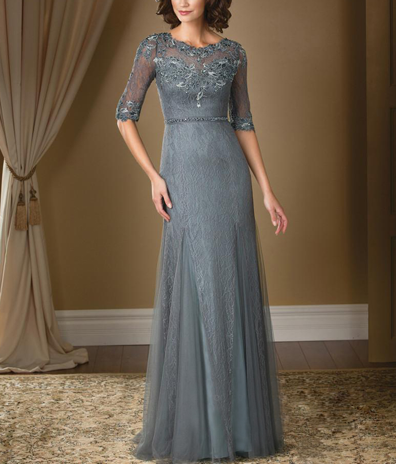2016 Lace Mermaid Mother Of The Bride Dresses Groom: Elegant Mother Bride Dresses 2016 Grey Half Sleeve Beads
