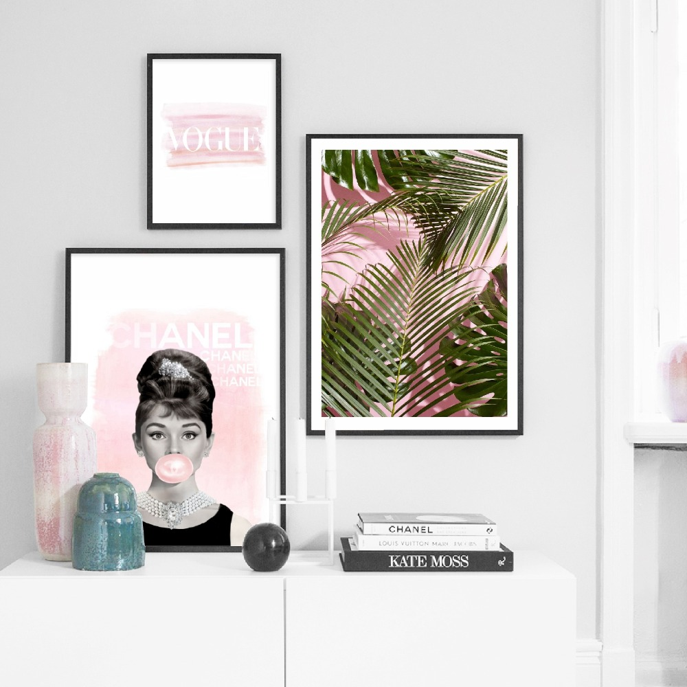 Watercolor Pink Palm Tree Canvas Art Prints And Poster , Fashion British Goddess Actress Bubble Gum Canvas Painting Home Decor image