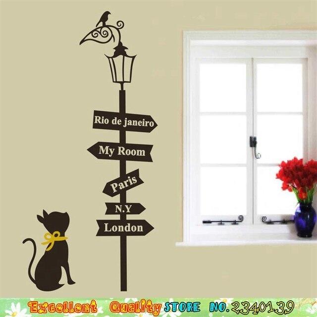 new guide signage cat bird street lamp wall sticker diy home decors