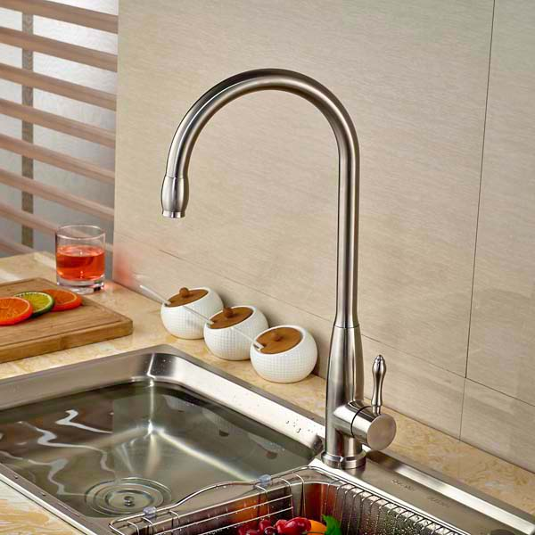 Swivel Spout Kitchen Faucet Vessel Sink Mixer Tap Hot And Cold Mixter Tap Brushed Nickel led spout swivel spout kitchen faucet vessel sink mixer tap chrome finish solid brass free shipping hot sale
