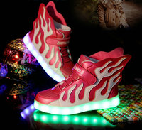 2016 New Design Kids LED Luminous Sneakers USB Rechargeable Boys Sports Shoes Girls Colorful Flashing Lights