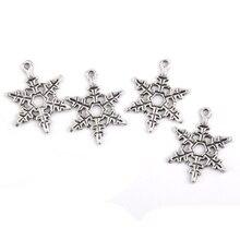 50 Collar de Plata de Los Encantos Encantos del Copo de nieve Colgantes Del Encanto de Navidad Joyería de ee