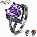 Hnsp calidad aaa cubic zirconia anillo cristalino del corazón para las mujeres de color púrpura o rojo nueva moda mujer de compromiso joyería tungsten r860