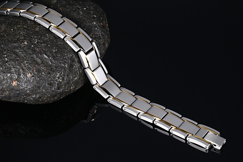 Fashion Jewelry Gold Color Stainless Steel Infrared Magnetic Bracelets Bangles Men Germanium Negative Trendy