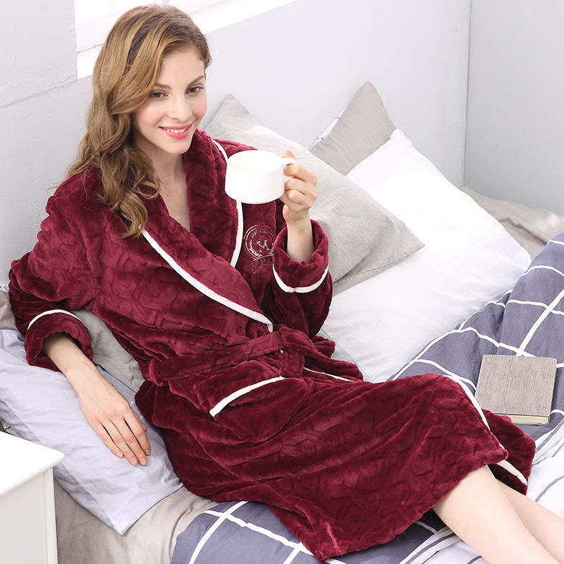 CherLemon Women Luxury Flannel Thicken Belt Breathable Sleepwear Bathrobe  Winter Warm Soft Long Kimono Ladies Spa Robe M XL-in Robes from Underwear  ... 19c482b65