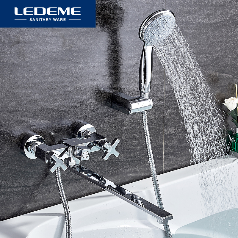 LEDEME  Bathroom Faucet Chrome Finish New Wall Mounted Waterfall Bathroom Bathtub Handheld Shower Tap Mixer Faucet L2584