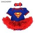 Superman Vestido de Niña de Disfraces Infantil Mameluco Del Cordón con Diadema lindo Equipos Del Bebé Vestidos Del Tutú Del Partido de Cumpleaños Ropa de Recién Nacido