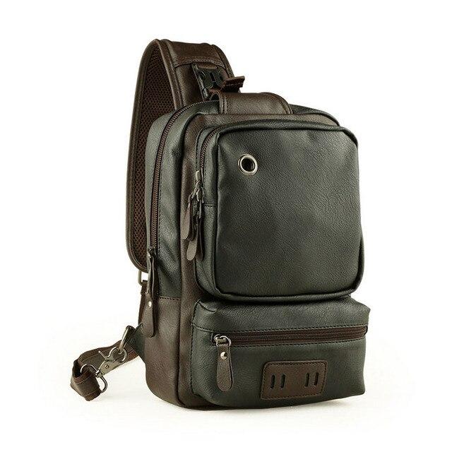 Простой дизайн кожа молния сумки одно плечо рюкзак бизнес груди пакет с наушником отверстие случайные bolsos hombre ZZ499