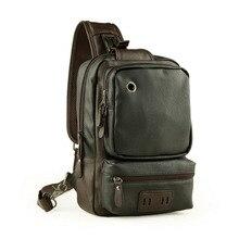 Einfache design leder reißverschluss taschen schulter rucksack business brust pack mit kopfhörer loch casual bolsos hombre ZZ499