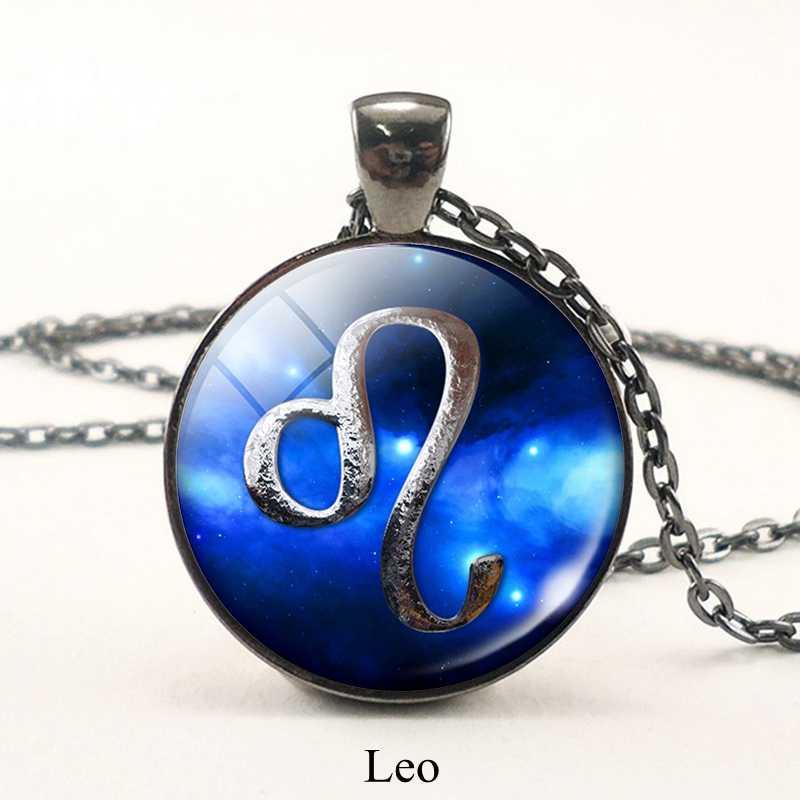 12 konstelacji znak zodiaku biżuteria Virgo Leo wisiorek czarny łańcuch naszyjnik z amuletem astrologia szklaną kopułą urodziny prezent dla przyjaciela