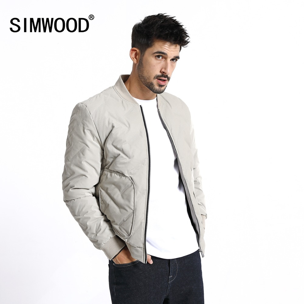 SIMWOOD 2019 Winter New Thin White Duck Down Bomber Jacket Men Fashion High Quality Coats Plus Size Baseball Jacket 180599