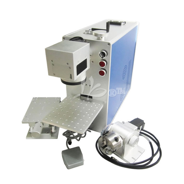 4 Axis 20W Optical Fiber Laser Engraving Machine with Rotary  3D Metal Marking