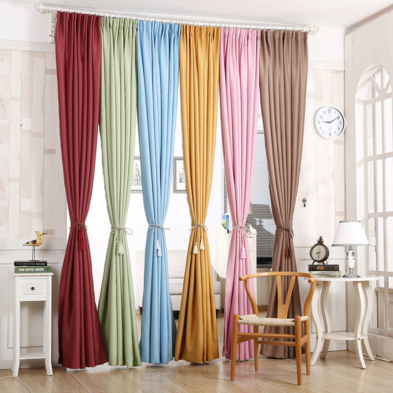 Blue Pink Beige Green Thick Blackout Short Curtains For Bedroom Blinds  Cloth Living Room Curtains Window