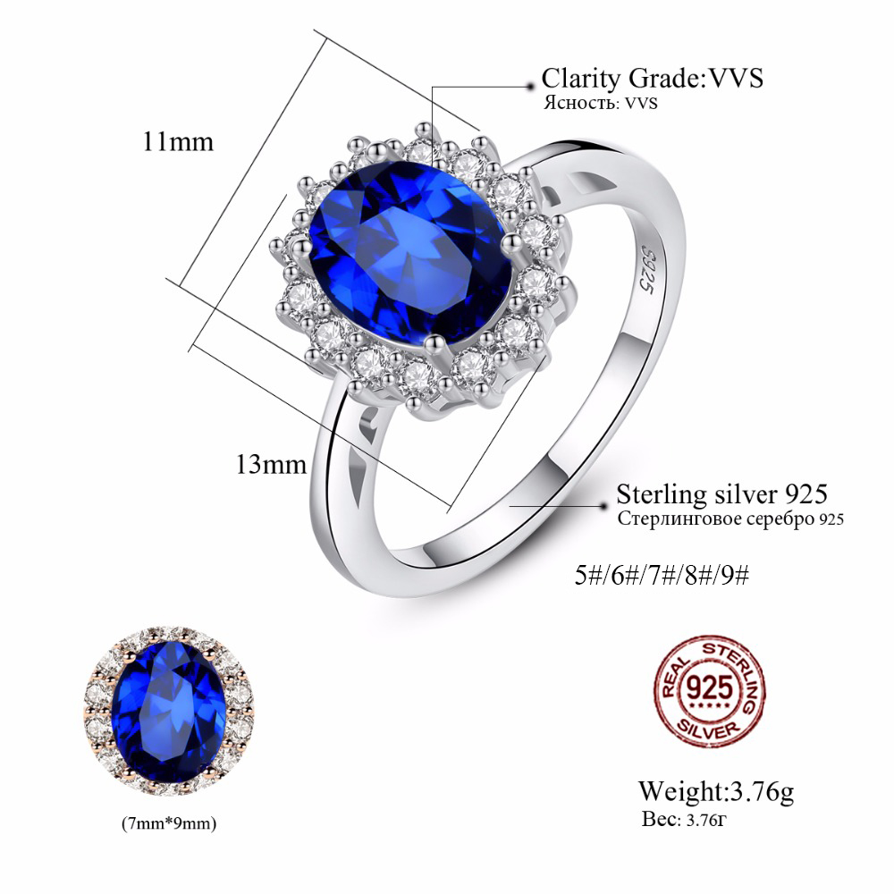 CZCITY Princess Diana William Kate Gemstone Rings Sapphire Blue Wedding Engagement 925 Sterling Silver Finger Ring