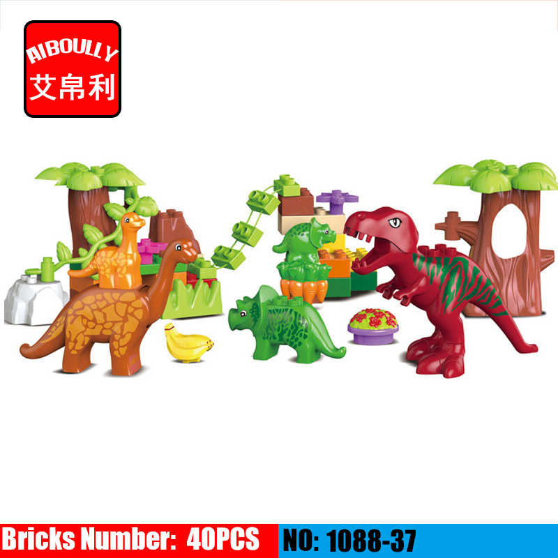40pcs/set Dino Valley Building Blocks Large particles Dinosaur Paradise Animal Model toys Compatible Duploe kid s home toys large particles happy farm animals paradise model building blocks large size diy brick toy compatible with duplo