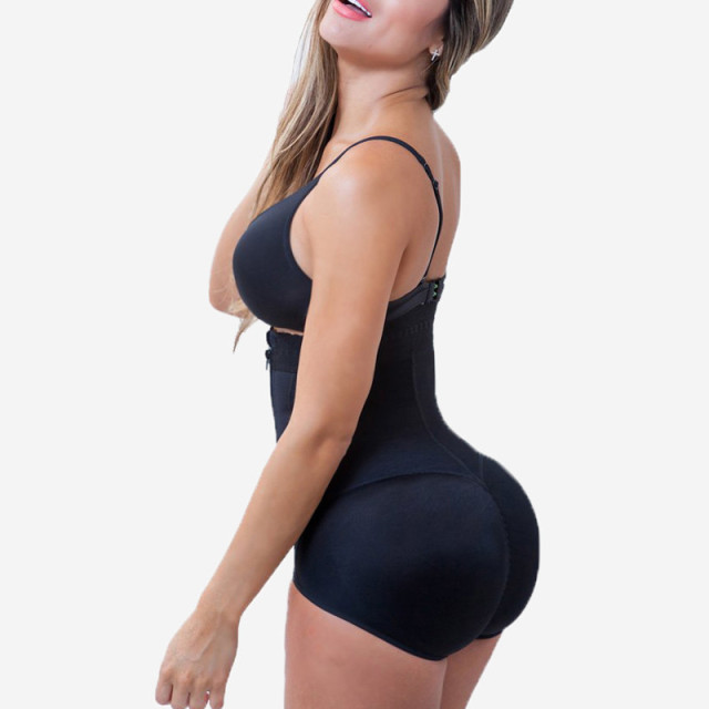 Plus Size Hot Latex Sexy Women Body Shaper Post Liposuction Girdle Clip And Zip Bodysuit Vest Waist Shaper Reductoras Shapewear 3