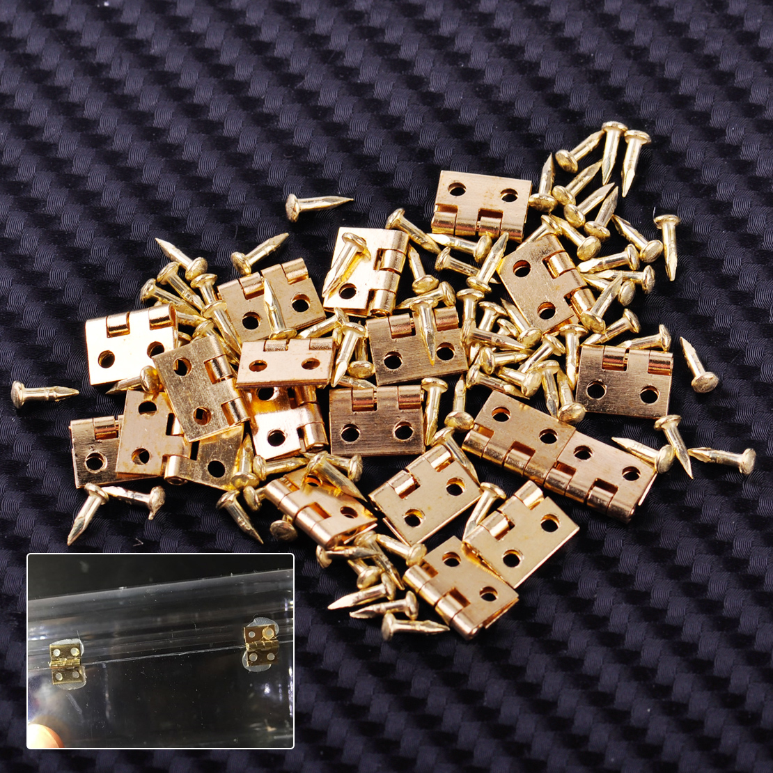 20pcs Furniture Golden Miniature Hinges With Nails Screws Fit For Dollhouse 1/12 Scale Cabinet Closet 10mm X 8mm