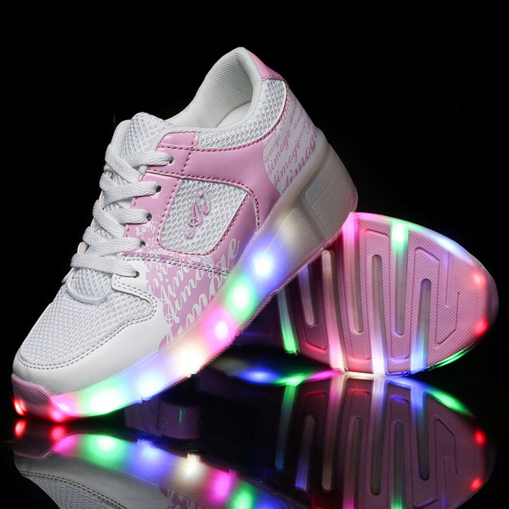 Roller tennis shoes - Kids Shoes Glowing Sneakers With Wheels Shoes Roller Skate Shoes For Boys Girls Led Light Up