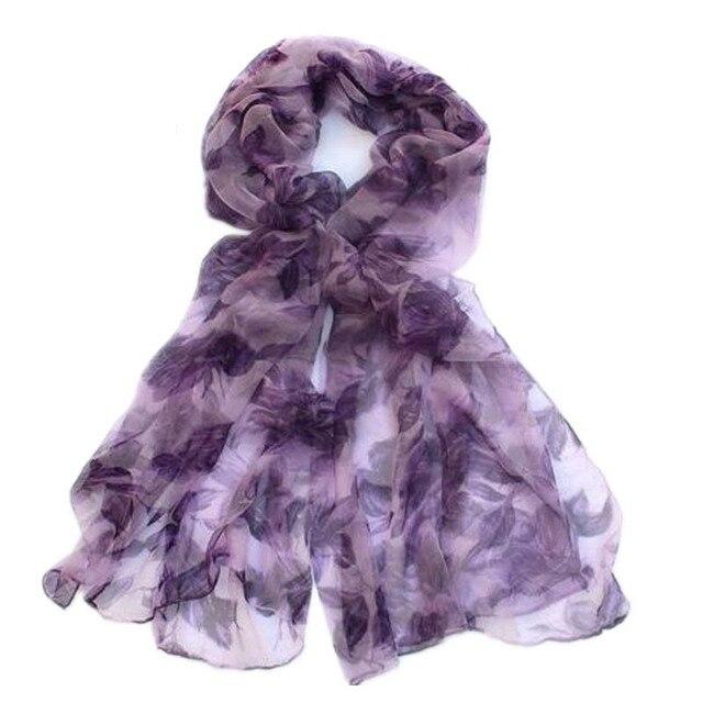 [LESIDA]Brand Design 100% Pure Silk Scarf Women Shawl Large Size 180*105cm Chiffon Muslim Hijab,Printed Violet Lavender KQ32007