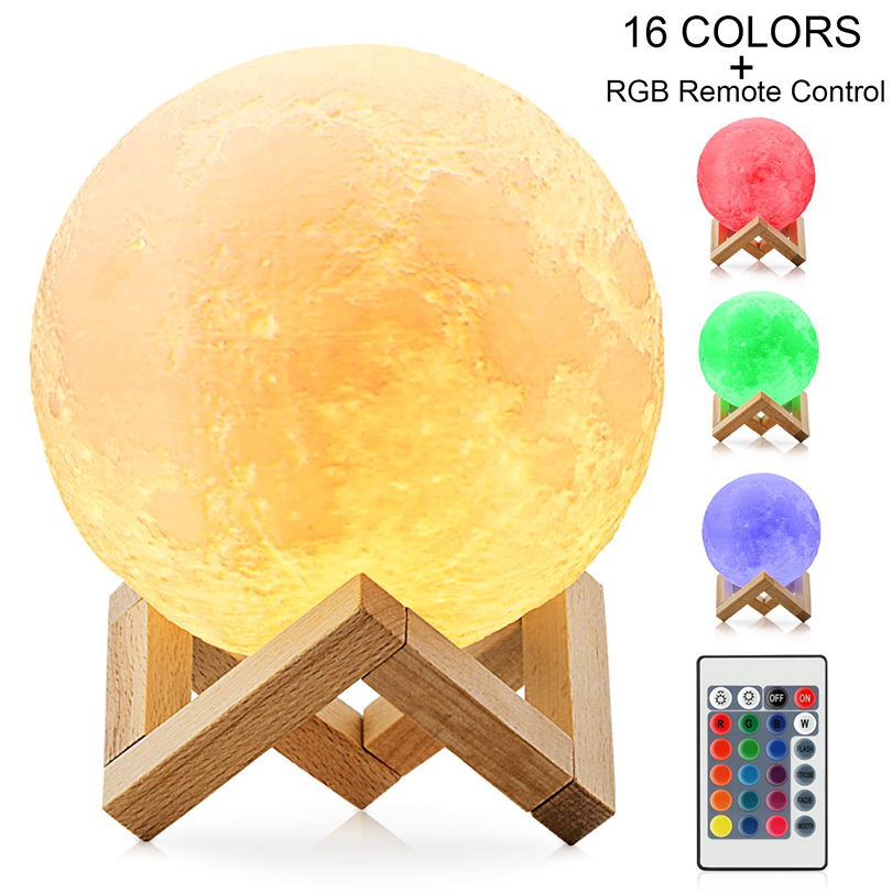 Rechargeable 16 Colors 3D Printed Moon Lamp Touch Switch Bedroom Bookcase Night Light Home Decor Creative Gift with Wood Holder moon flac wood